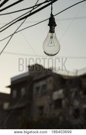 hanging of lamp in old building background in delhi India