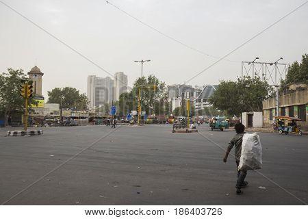 DELHI INDIA - JUN 11 : morning life of homeless man in ajmeri gate near new delhi railway station of delhi on june 11 2015 india