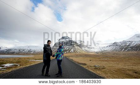 Asian Senior Couple Abstract Together Forever Love. Retirement Trip To Iceland Financial Free Withou