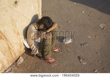 Sleeping Homeless Boy