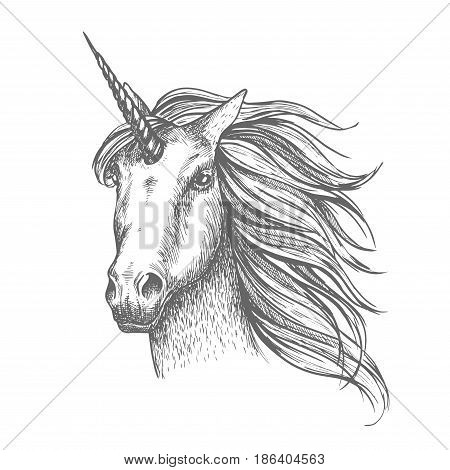 Unicorn mythical horse, heraldic equine head with horn and wavy mane. Mythic symbol of fantasy horse for astrology, fairytale story design. White mythical heraldic isolated horse head with long horn