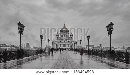 Moscow - 04,04,2017:  Christ The Redeemer Cathedral In The Center Of Moscow