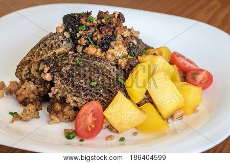 Morels Mushrooms With Stuffed Meat And Potatoes