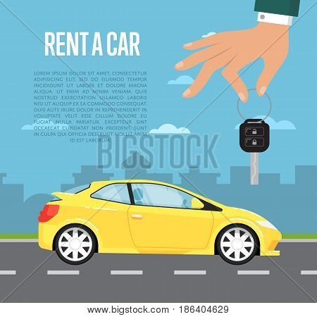 Rent a car concept with family universal car and hand holding auto key. Transport service, online pre order car vector illustration. Auto business, test drive, selling, leasing or renting car banner