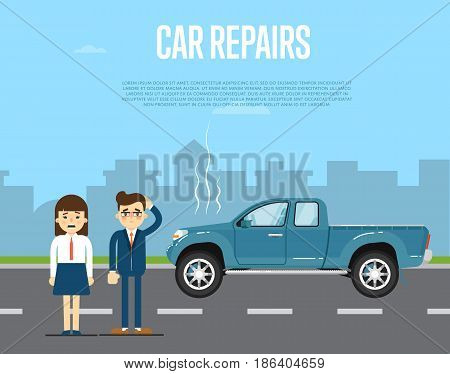 Car repairs banner with people couple standing near broken pickup on road. Vector illustration for automobile repair service, auto assistance, car help. Road accident or car trouble in urban cityscape