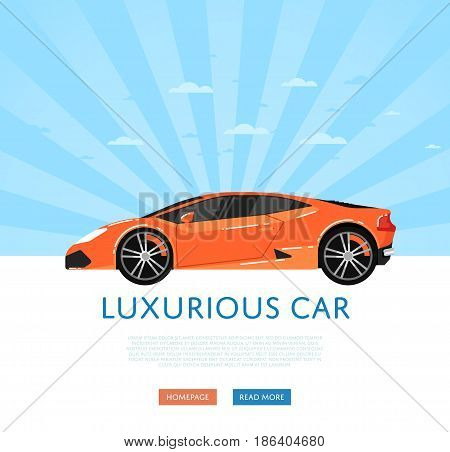 Website design with luxury sports car. Exotic supercar on blue striped background, modern auto vehicle banner. Auto business, sale or rent transport online service vector illustration concept.