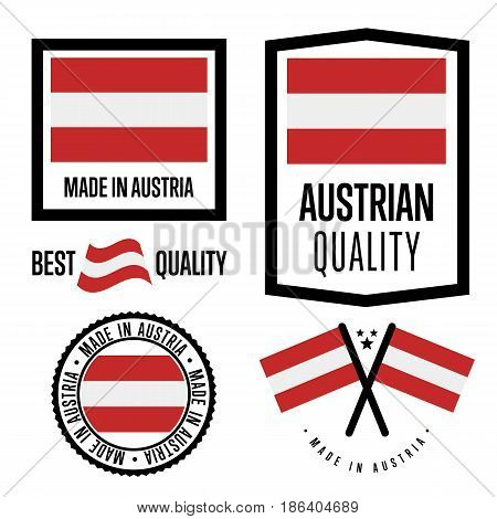 Austria quality isolated label set for goods. Exporting stamp with austrian flag, nation manufacturer certificate element, country product vector emblem. Made in Austria badge collection.