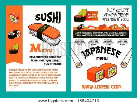 Sushi menu poster for japanese cuisine restaurant template. Sushi bar menu with nigiri and maki sushi, chopsticks and plate with rolls, filled with salmon, tuna, shrimp, red caviar and cucumber