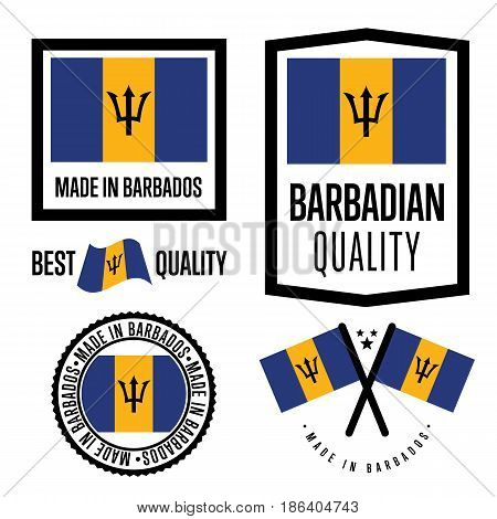 Barbados quality isolated label set for goods. Exporting stamp with barbadian flag, nation manufacturer certificate element, country product vector emblem. Made in Barbados badge collection.