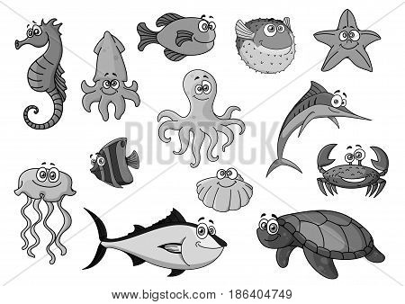 Cartoon sea and ocean animals. Vector icons of seahorse and squid, octopus and flounder, starfish and jellyfish. Exotic clown fish and tuna, crab or lobster and shell mollusk, turtle and swordfish