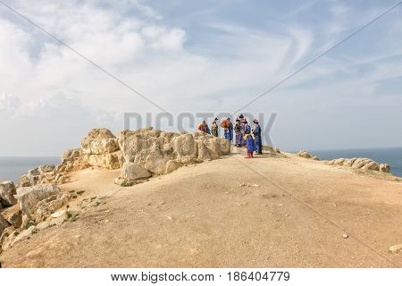 Khuzhir Russia - July 29 2016: Shamans perform a rite of offering to spirits on the island of olkhon.