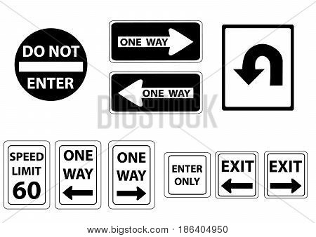 a set road signs in black and white
