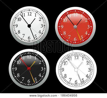Colored Clock illustration set on black background