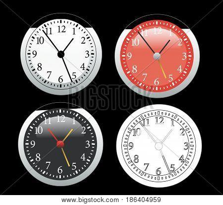 Clock vector illustration set on black background