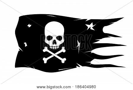 vector skull with crossed bones on white