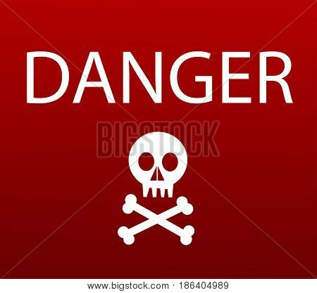 Warning sign with skull illustration art design