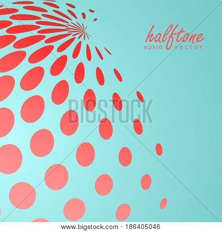 Abstract halftone sphere in red color on compliment color background and with example of text, created for business advertising, presentation, logo, web