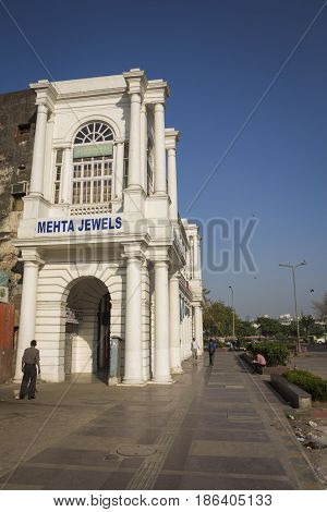 DELHI INDIA-APR 9 : building at Connaught Place F-block . this place is large shopping place in central delhi on april 9 2015 india