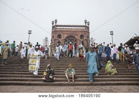 DELHI INDIA - JUL 18 : massive crowd after Islamic ritual at jama masjid in old Delhi of Delhi on july 18 2015 india