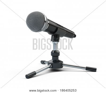Webinar, conference concept - microphone isolated on white. 3d render