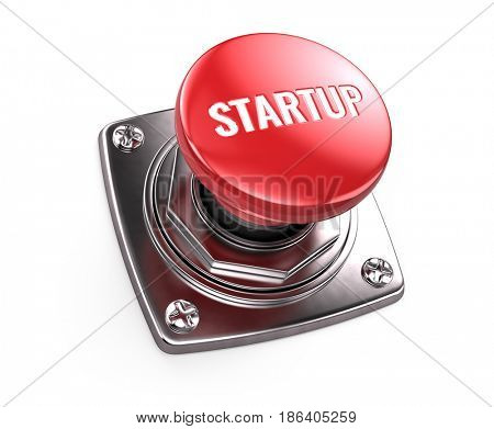 Red startup button - start up concept. 3d render