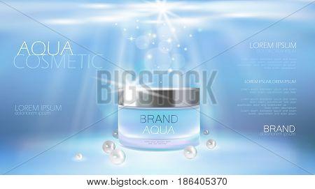 Aqua Skin Care Creme Cosmetic Ad Promoting Poster Template. Underwater Deep Sea Blue Sunlight Ray Pe