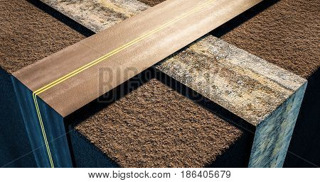 two roads urban and rural crossing in an abstract transportation 3d illustration