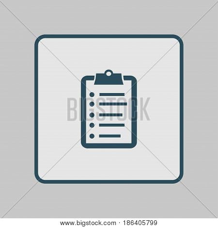 Check list vector icon. Shopping list token. Flat design style.