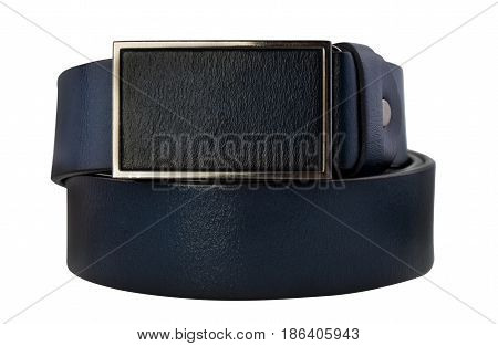 Rolled men's blue leather belt with metal buckle isolated on white