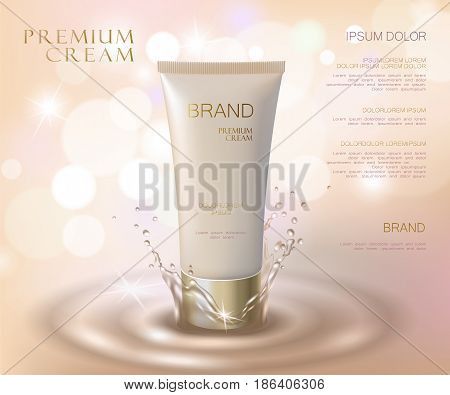 Moisturizing Effect Cosmetic Tone Ad Template. Oil Water Splash Drop 3D Delicate Soft Realistic Vect