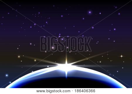 Planet earth with sunrise in space. Vector space background. Blue and purple tones