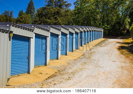 Row Of Storage Units On Up Slope Of Hill