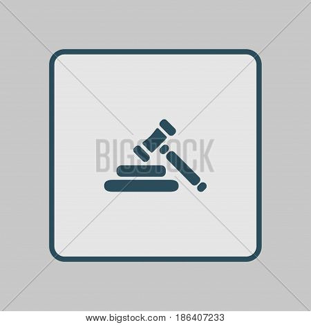 Auction hammer pictogram. Law judge gavel icon. Flat design style.