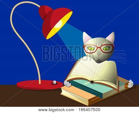 A cat in glasses reads books under the light of a desk lamp, vector illustration