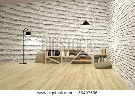 Lamps With Bookcase On Wooden Floor And Bricks Wall