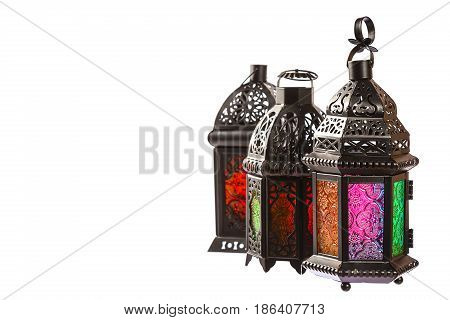 Beautiful A Shining Fanus Lantern Isolation On White Background. The Muslim Feast Of The Holy Month