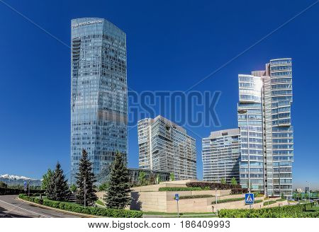 ALMATY KAZAKHSTAN - MAY 12 2017: Panoramiv view of The Ritz-Carlton Hotel on Al-Farabi street in Almaty Kazakhstan. It is a complex of buildings of Business Centre of Esentai Tower.