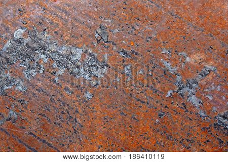 Rusty metal background with streaks of rust. Rust stains. The metal surface rusted spots