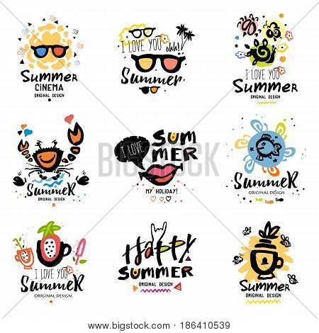 Summer logotype. Summer vacation logo. Adventure, sightseeing stickers. Hand drawn elements for summer logo