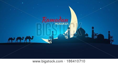 Ramadan Kareem. Ramadan Mubarak. Greeting Card. Arabian Night With Crescent Moon And Camel.