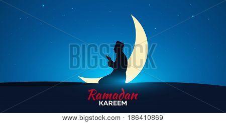 Ramadan Kareem. Ramadan Mubarak. Pray. Greeting Card. Arabian Night With Crescent Moon.