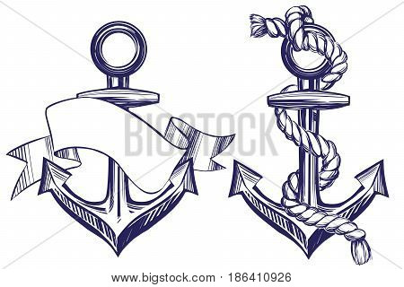 Anchor set symbol hand drawn vector illustration sketch isolated on white background