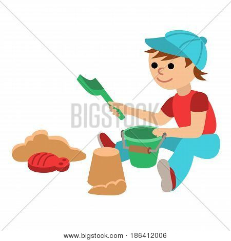 Cute little baby boy playing in the sandbox. Toddler with toy bucket and shovel for sand. Cartoon vector illustration isolated on white background.