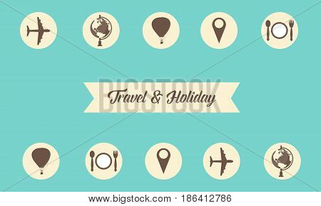 Collection stock of travel and holiday style vector art