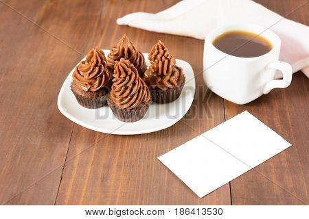 Cupcakes, Coffee And Isolated Card