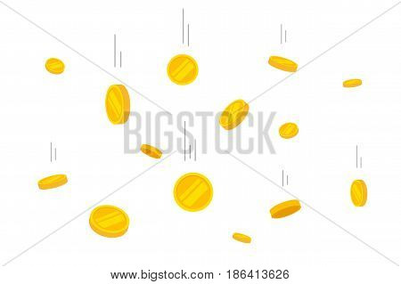 Coins money falling vector illustration, flat style flying gold coins isolated on white background