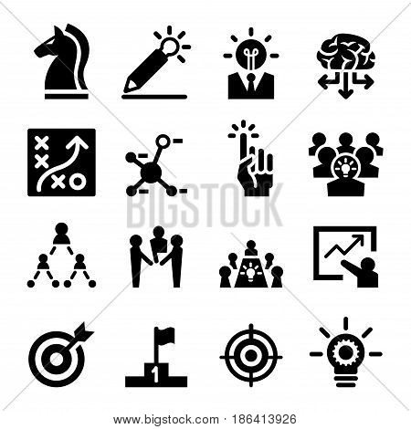 business strategy icons set Vector illustration Graphic design