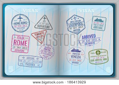 Open passport for foreign traveling. Pages with immigration vector icon set stamps. Personal passport with stamps arrived illustration