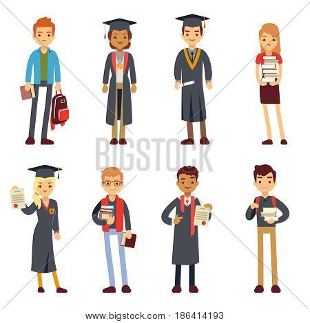 Happy students and graduates young learning people vector characters. Students graduation college or university, illustration of young student in cap