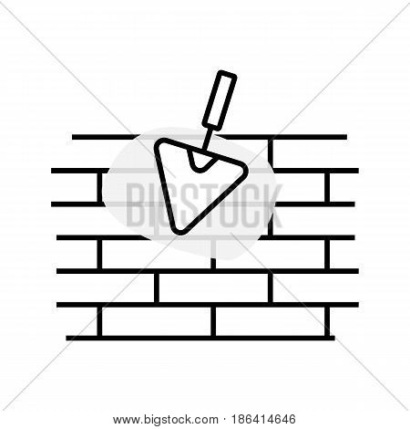 A simple vector linear illustration of an uneven brick wall a construction trowel and a cement stain a flat line icon.